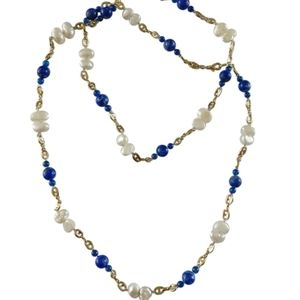 lapis and pearls chain necklace